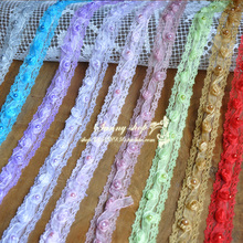 10 Yard/lot Diy accessories lace trim three-dimensional rose beads lace fabric clothes decoration 2.8cm wide(China (Mainland))