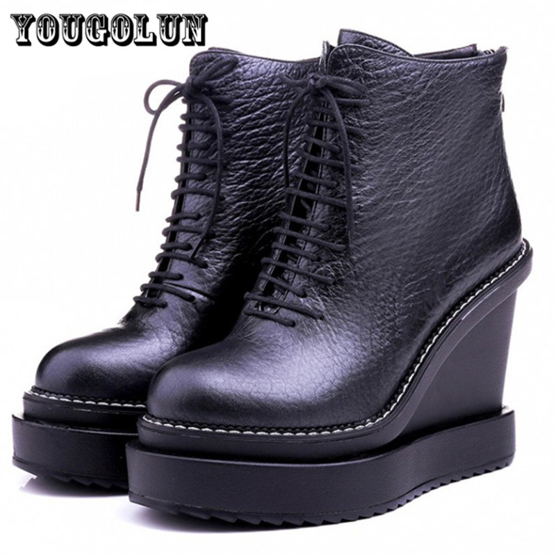 2015 sexy Woman fashion wedges high heels ladies shoes Genuine leather black white platform shoe Women Ankle boots winter boot<br><br>Aliexpress