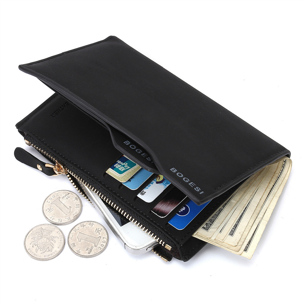 Hot Men Fashion Zipper Wallets Short Design Money Purse Phone Card Bags Coin Photo Holder