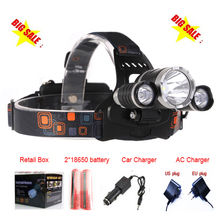 Linterna frontal LED Headlamp 8000 Lumens Head lamp T6 3 LED Headlight head torch edc flashlight +battery+Car charger+Charger(China (Mainland))
