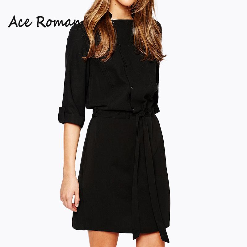 2016 Autumn Women Dress New Brand Casual 3/4 Sleeve ...