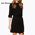 2016 Autumn Women Dress New Brand Casual 3 4 Sleeve Dresses Office Lady Vestidos Sashes Women