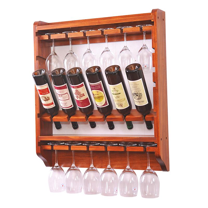 Pine wood wine rack multifunctional wine display wall hanging type wine rack glass rack inwine - Types of beautiful wine racks for your home ...