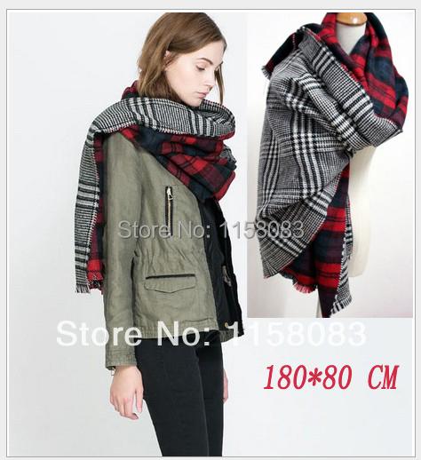 Drop shopping scarf plaid new designer 180*85 unisex acrylic basic wrap shawls women's knitted spring pashmina SCF002(China (Mainland))