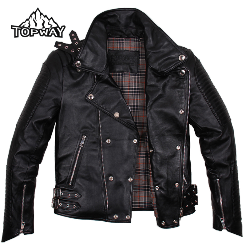 Hot Sale Metal Buckles Cappotto Punk Style Genuine Lambskin Leather Motorcycle Jacket Men Fashion Coat Anti-Wear Doudoune Homme(China (Mainland))