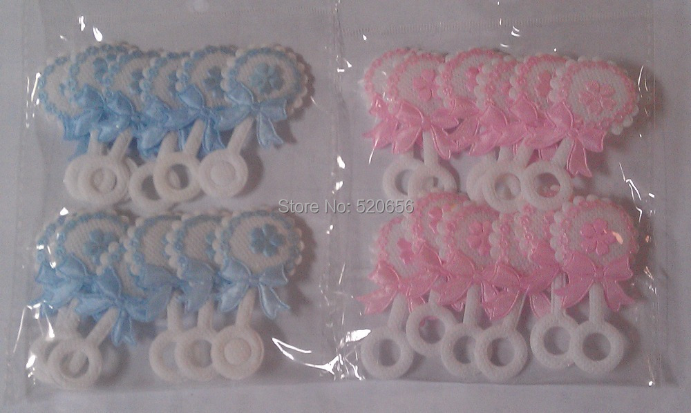 2014 New cute non-woven baby shower favor baby rattle pink blue for boy girl baby shower favor party decorations(China (Mainland))