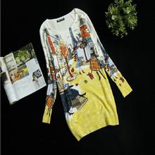 Women Fashion Sweater Dress Plus Size Casual Knit Dresses 2015 Autumn And Winter Women Print Long Winter Dress Knit Jacket(China (Mainland))
