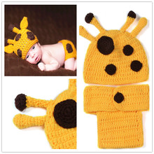 Baby Yellow Spotted Deer Photography Props Animal Design Infant Cotton Clothes Accessories Hand Knitted boy Girl Cap Pants