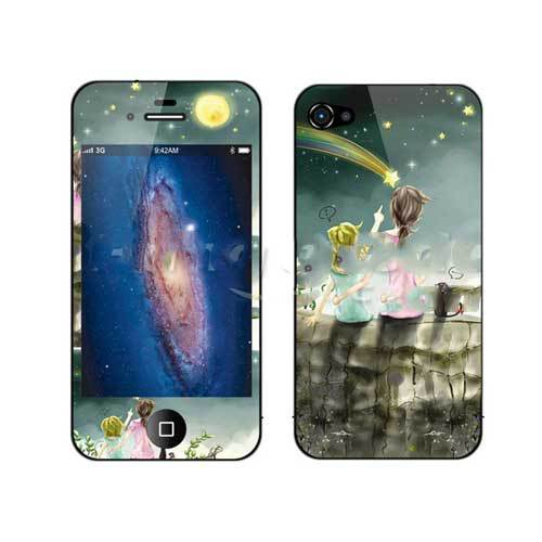 Eatonville Warm Mother Kid Cartoon Back Front Protector For iPhone 4 4S(China (Mainland))