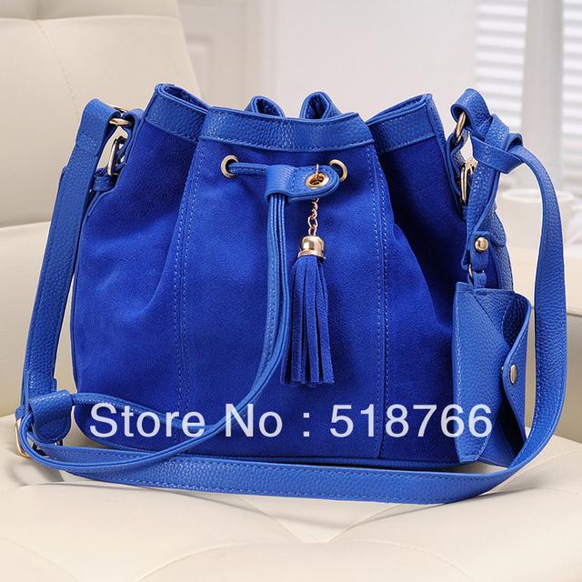 Matte PU Bucket Shoulder Bag 2013 New Designer Women Messenger Bag Leather Tassel Casual Handbag Free Shipping Wholesale/Retail
