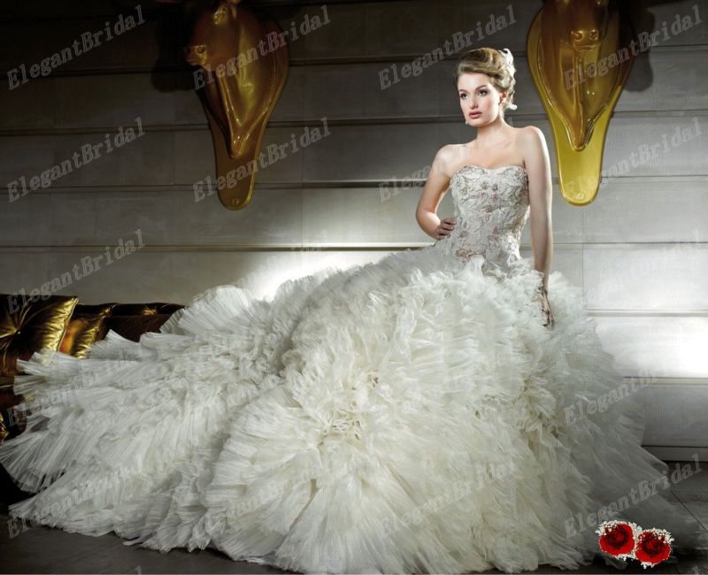 2013 New Arrival Italy Brand Sweetheart Corset Top Big Puffy Ball Gown Wedding Dresses Gowns In
