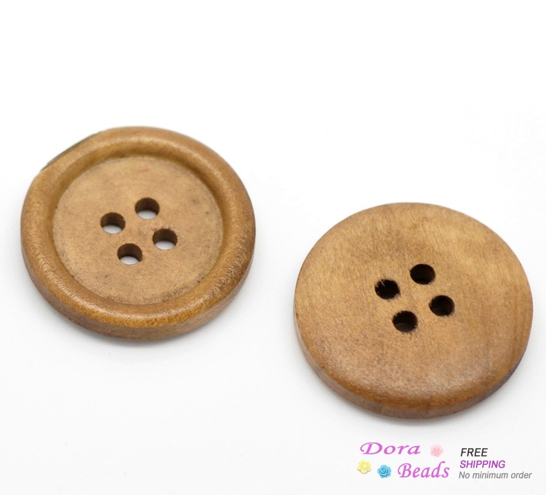 "50PCs Light Coffee 4 Holes Round Wood Sewing Buttons 25mm(1"")Dia. (B19497)8seasons(China (Mainland))"