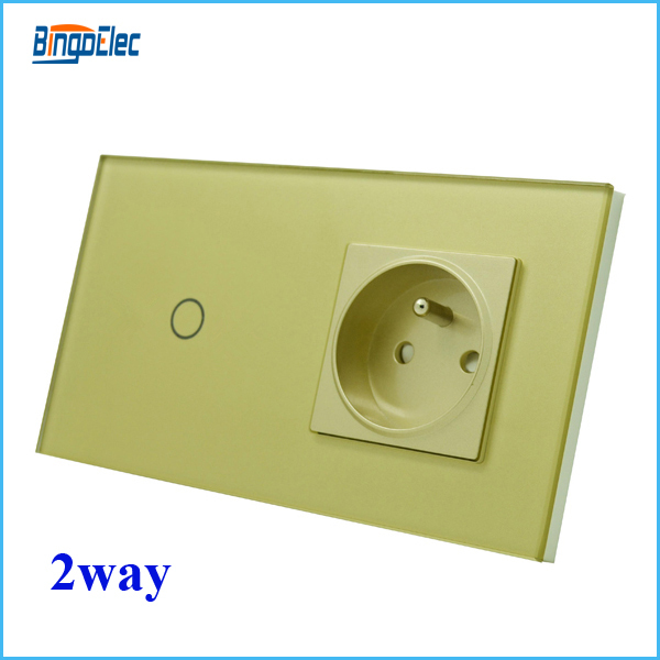 Toughened Glass panel and frame,EU/UK  golden1gang 2way touch wall switch and EU french wall socket,free shipping<br><br>Aliexpress