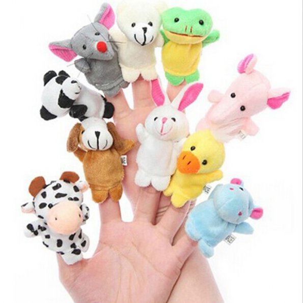 10 PCS Tiny Cute Animal Farm Finger Puppets Learn Play Boys Girls Baby Velvet Toy(China (Mainland))