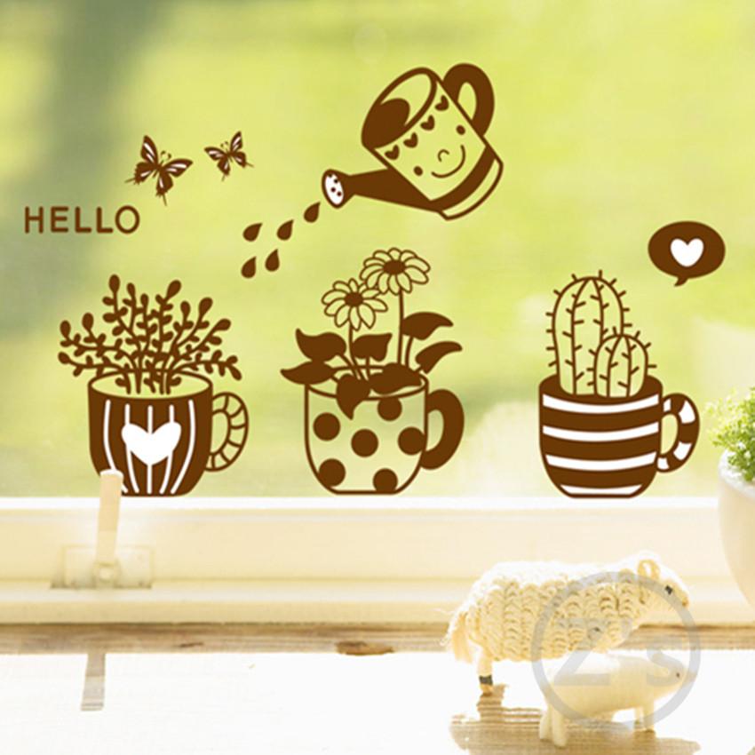 Vaso di fiori vasi di fiori adesivi murali wall sticker home decor adesivo murale immagine manifesto smontabile del vinile wallsticker ay6018(China (Mainland))