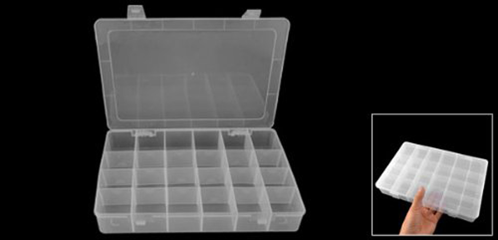USA Delivery Como Clear White Plastic 24 Compartments Fishing Fish Lure Storage Box Case(China (Mainland))
