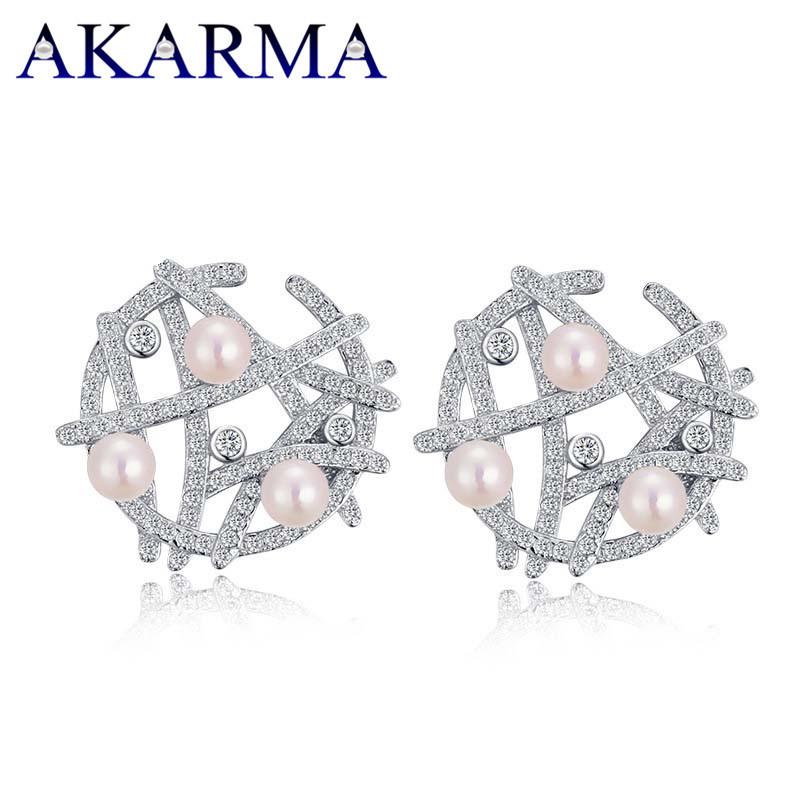Akarma Round Stud Earrings 925 Silver Earrings Women Bridal Earrings Pearl Geometric Bijoux Accessories Bridesmaid Gift Jewelry<br><br>Aliexpress