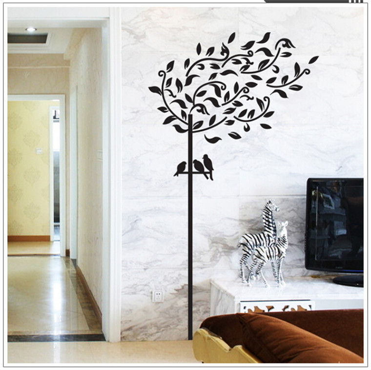 diy decal wall decor black color tree and birds background sticker home decor wall sticker for. Black Bedroom Furniture Sets. Home Design Ideas