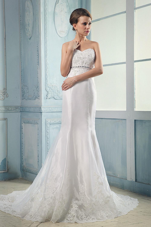 2016 latest fashion sweetheart appliques and crystal silk for Taffeta mermaid wedding dress