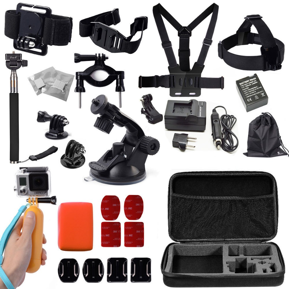 2015 New Charger battery Gopro accessories set go pro kit mount for gopro hero 4 3 2 1 gopro 3 battery car charger suction cup <br><br>Aliexpress