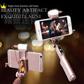 Noble Selfie Stick Fill in LED Flash Light Pocket Selfie Stick with Bluetoot on All Phone