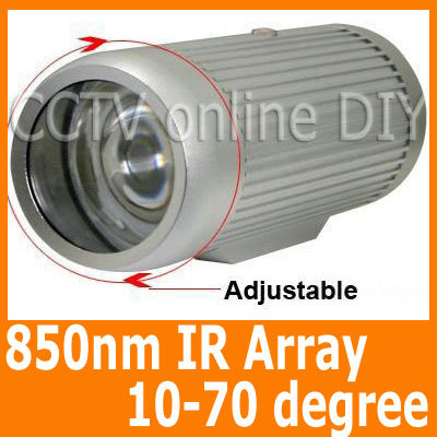 3800mw 850nm Wavelength IR Array Illuminator Lighting 10-70 Degree Adjustable for Security CCTV Camera Free Shipping(China (Mainland))