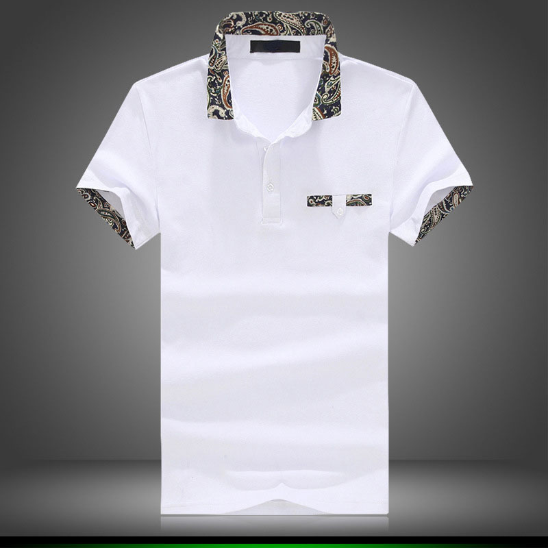 2016 New Barnd Fashion Floral Collar polos men's Cotton Short sleeve hot sale Casual slim Fit Camisas men's Polo shirt(China (Mainland))