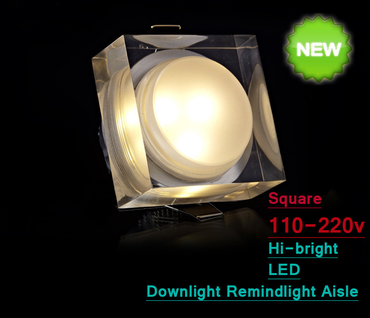 Downlight LED Crystal style Square Clear Aisle Background Wall Ceiling light Foyer Acrylic Energy save 1/3/5/7w warm white/white - YLC TRADING DISCOUNT STORE store