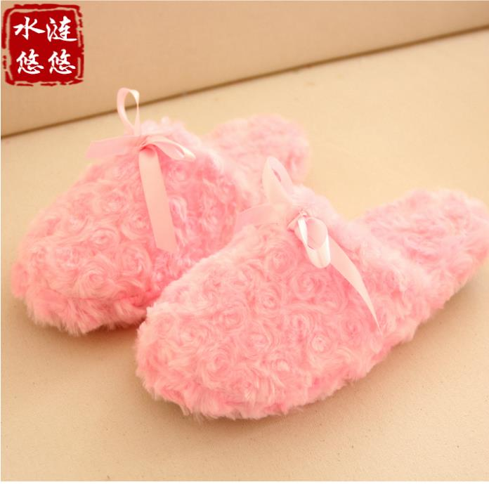 Pernycess 1pcs The new interior floor cute pink bow slippers warm shoes<br><br>Aliexpress
