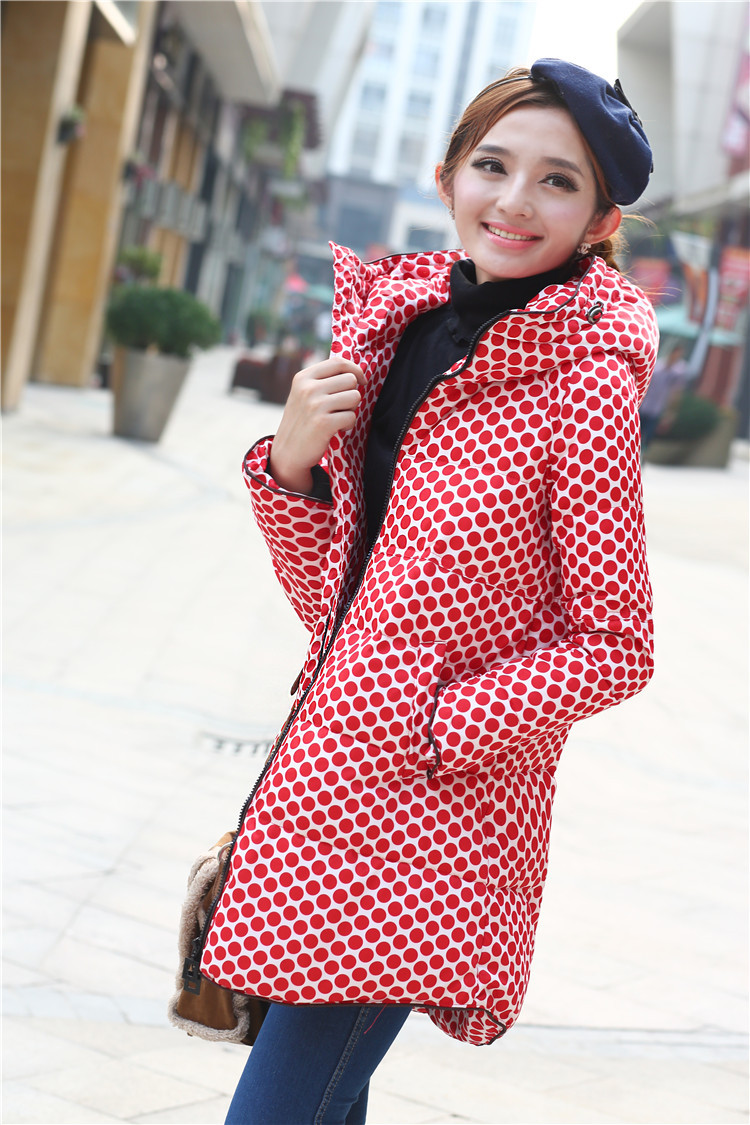 New 50% off women's down jacket dot printing long 4XL winter coat 90% white duck down jackets,free shipping(China (Mainland))