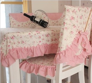 Free Shipping Pink Cotton Fabric Dining Chair Set Cushion Tablecloth Table Cl