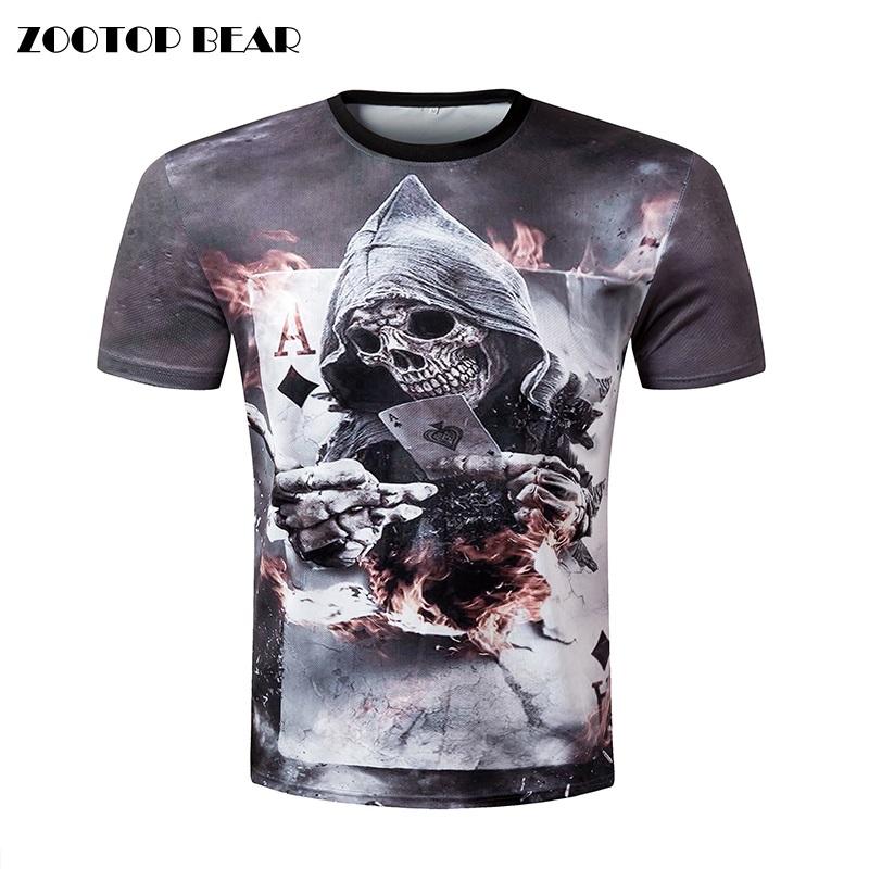 Zootop Bear New Design Skull Poker Print Men Short Sleeve