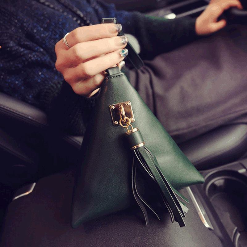 2016 Fashion Handbag Casual Mobile Phone Bags Tassel Triangle Purse Women Leather Handbags<br><br>Aliexpress