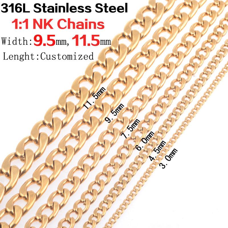 Здесь можно купить  Wholesale 10pcs/lot men vintage 9.5mm/11.5mm wide big and heavy 18K Gold 316L stainless steel 1:1NK necklace link chains jewelry  Ювелирные изделия и часы