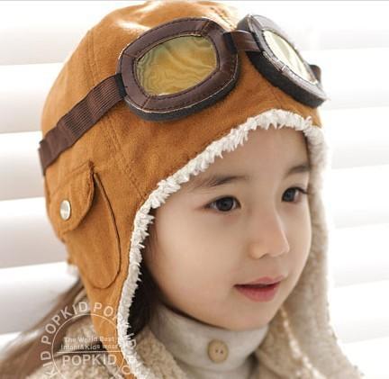 1 Шт новый дизайн Детские Шапки, черный Мода Earflap Пилот Крышка Младенца ТЕПЛАЯ Зима Hat