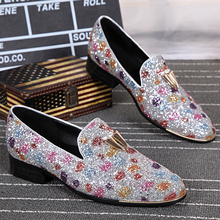mens glitter shoes brand 2016 fashion colorful shoes men flats round toe loafers leather gold horn decorated slip on shoes(China (Mainland))