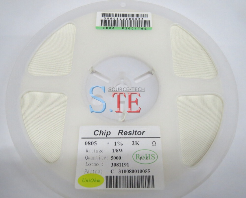 ! 5000805 1% 2K 2.0K 202 2001 F CHIP FIXED RESISTOR THIN FILM SMD - Oweis Electronics (HK store)