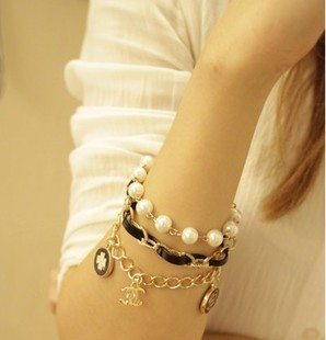 2014 Vintage style charm leather chain pendant for women Bracelets & Bangles Pulseiras Masculinas