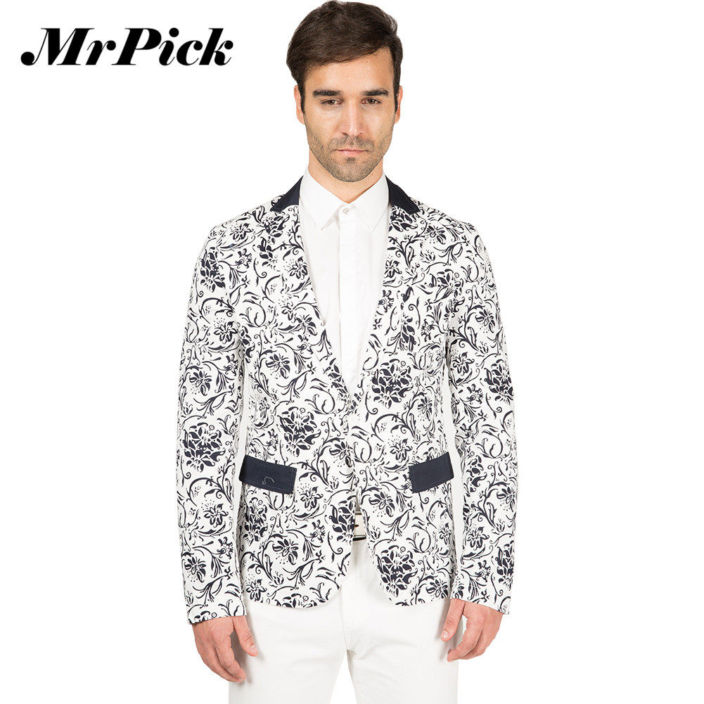 Здесь продается  Mrpcik Men Printed  Blazer Slim Fit Single Button Long Sleeve Blazer Jacket Brand Design Fashion High Quality Jacket C017  Одежда и аксессуары