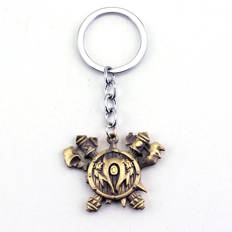 Free Shipping WOW Orc Logo Metal Keychain World Of Warcraft Figure Jewelry Toy Pendant Key Chain Gift(China (Mainland))