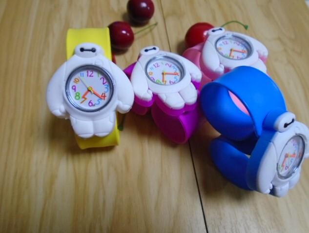 10pcs/lot ! 2016 Fashion Movie Character Big Hero 6 Slap Watch Cartoon Kid Silicone Rubber Jelly Wrist Watch Free ship(China (Mainland))