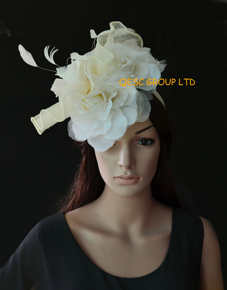 New Arrival.Ivory cream feather fascinator sinamay fascinator hat bridal fascinator with feather flowers& 3pcs silk flower.(China (Mainland))