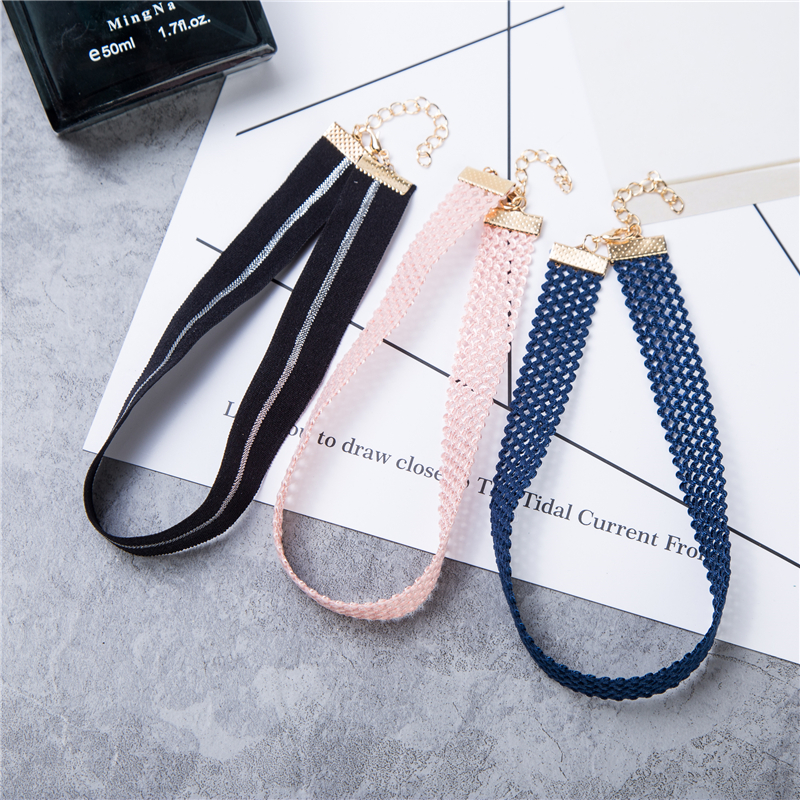 Black Lace Leather Velet Strip Choker Necklace Torques Short Collar Women Statement Jewelry(China (Mainland))
