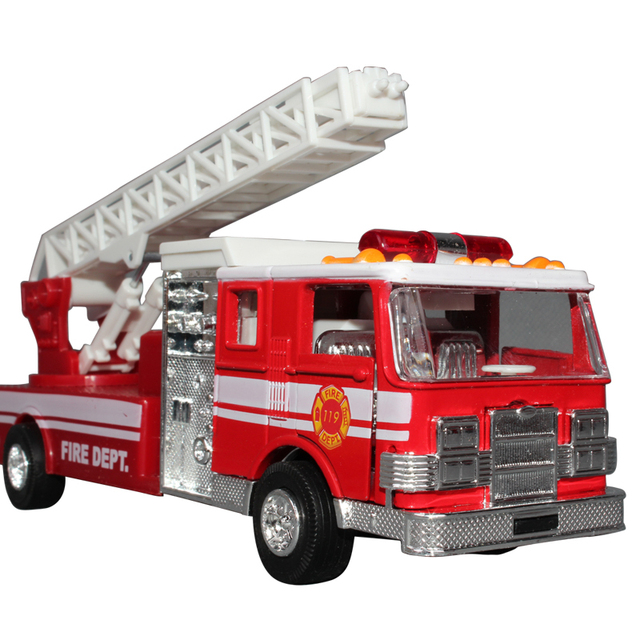 free shipping Ladder truck retractable ladder acoustooptical WARRIOR car open the door alloy car model 7000 - 10