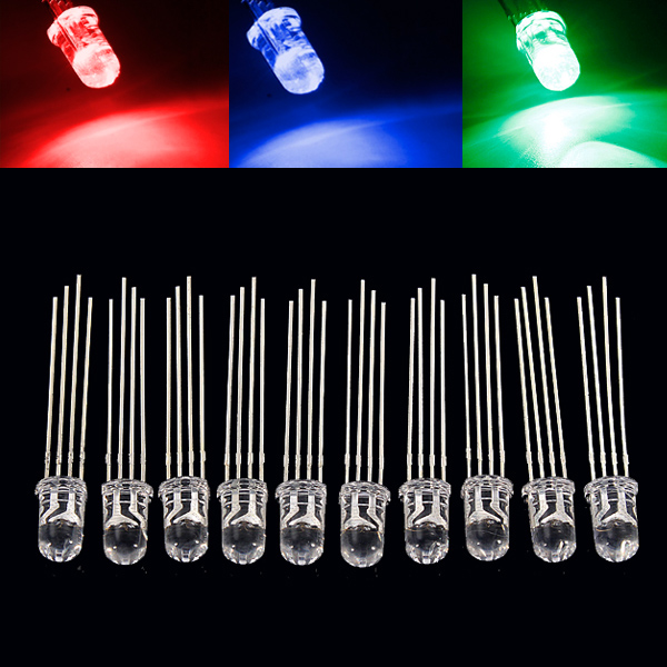 Best Price 10pcs/lot 5MM 4PIN RGB Common Anode LED Emitting Diodes Round Clear Lights Lamp(China (Mainland))