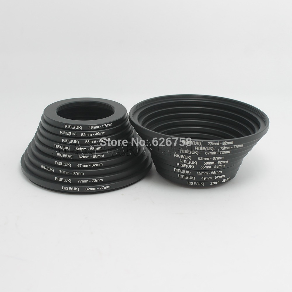 RISE(UK)18pcs 37-82mm 82-37mm Lens Step Up Down Ring Filter Adapter Set 37 49 52 55 58 62 67 72 77 82 mm
