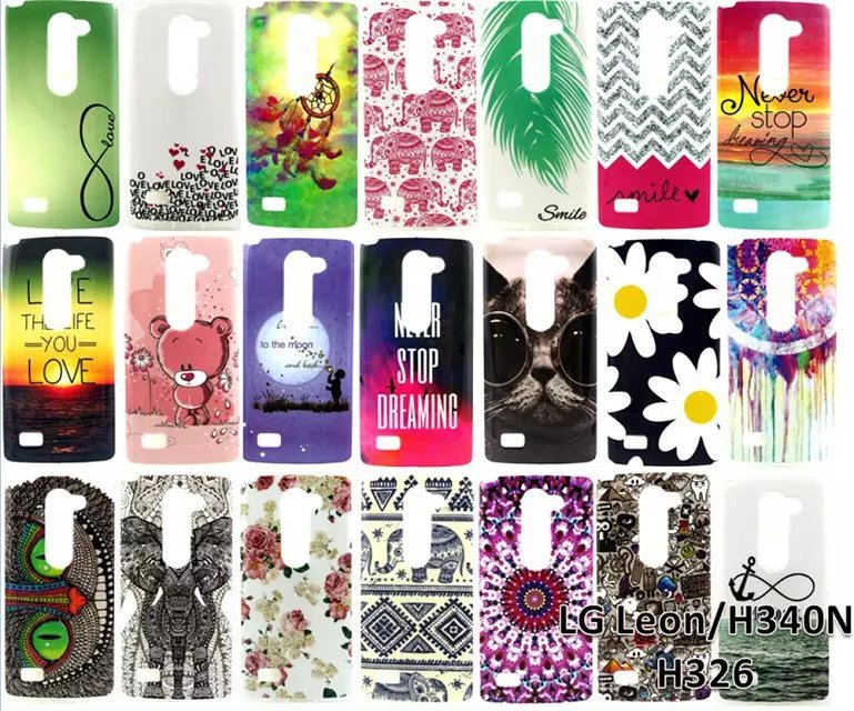 Owl Cat Bear Elephant Flower Soft TPU Phone Case LG Leon 4G LTE H340N C50 C40 Ultra Thin Gel Cartoon Painting Back Covers - Perfect boy store