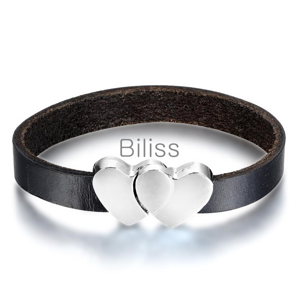 Biliss Double Heart bracelets antique Love Heart Leather Bracelet Charm Wristbands Magnetic Clasp Bracelet Valentine's Day(China (Mainland))