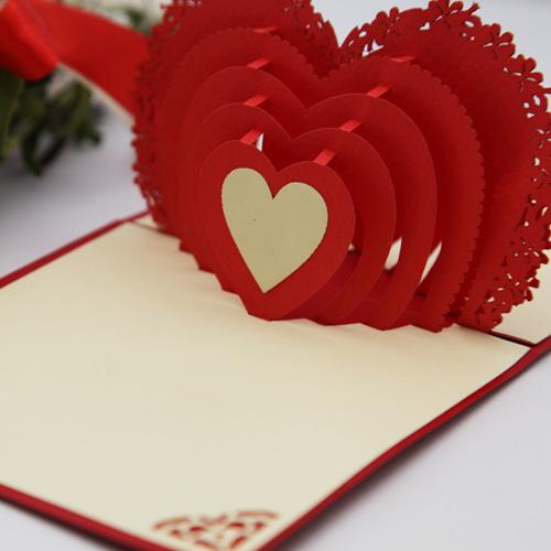 year 2014 Valentine love gift laser cut 3d pop cards wedding invitations paper art decoupage envelope - Ivy trade company ltd store