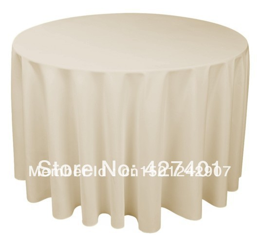 "Hot Sale 120"" Beige  Round Table Cloth Polyester Plain Table Cover For Wedding Events & Party Decoration"